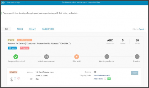Screenshot: individual customer requests and their progress
