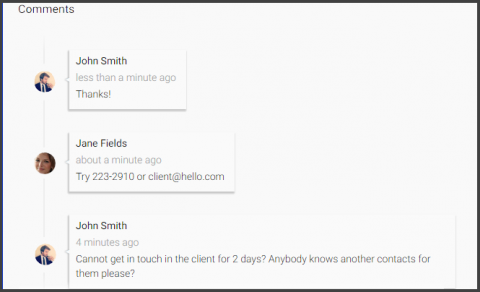 Screenshot: comments by users in the context of a workflow