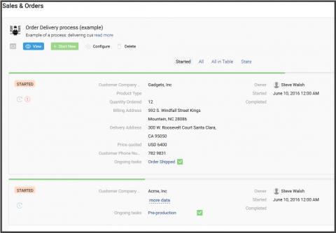 Screenshot: list of process instances - data, tasks