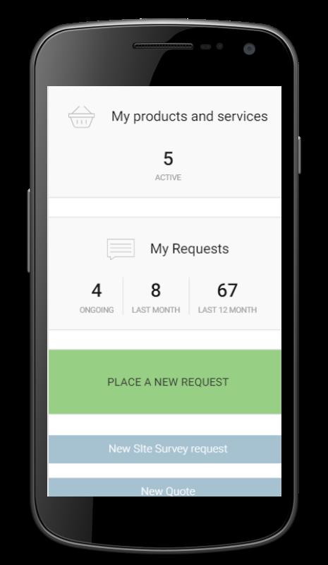Customer portal - mobile view screenshot
