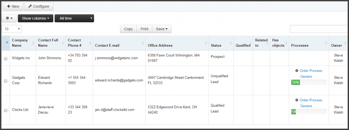 Screenshot: Customer list with related orders