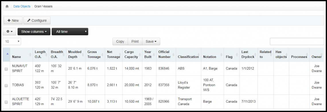 Screenshot: database of cargo vessels
