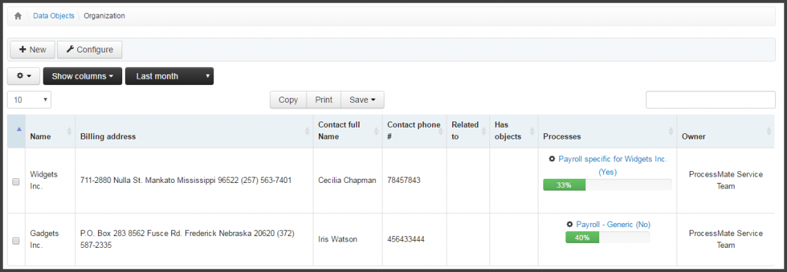 Screenshot: customer list with references to active payroll processes