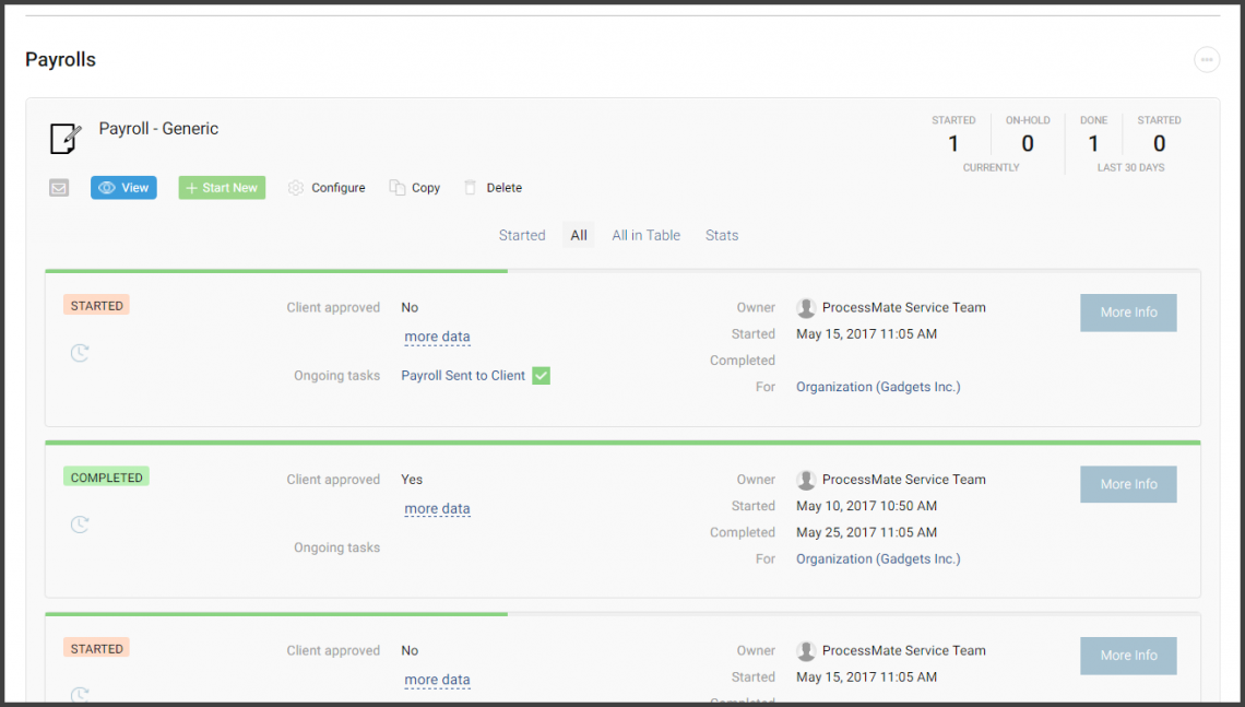 Screenshot: process repository - payroll process instances