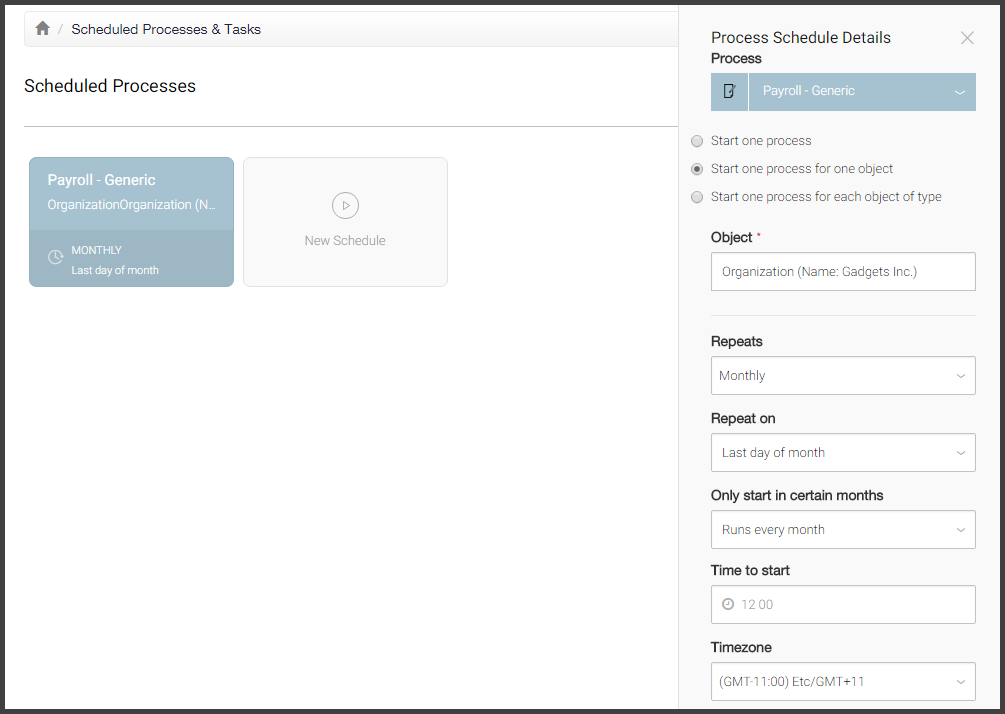 Screenshot: process schedule for automatic initiation of processes