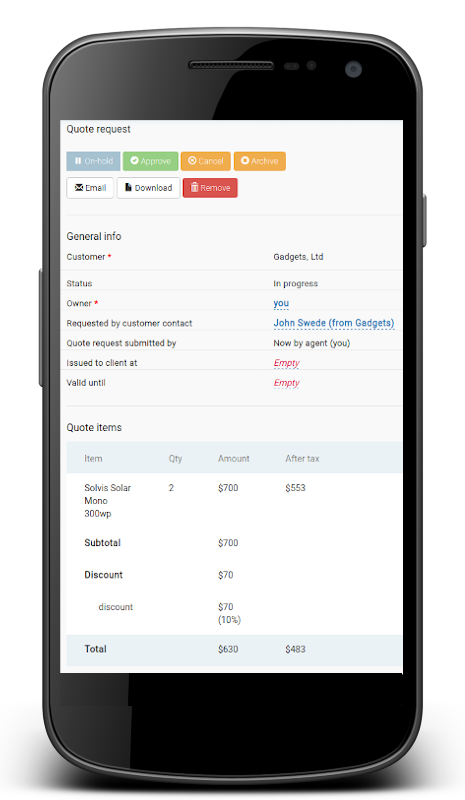 Quotation and ordering - view on mobile device