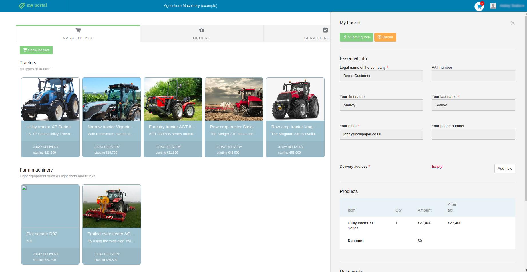 customer portal screenshot for heavy agricultural equipment